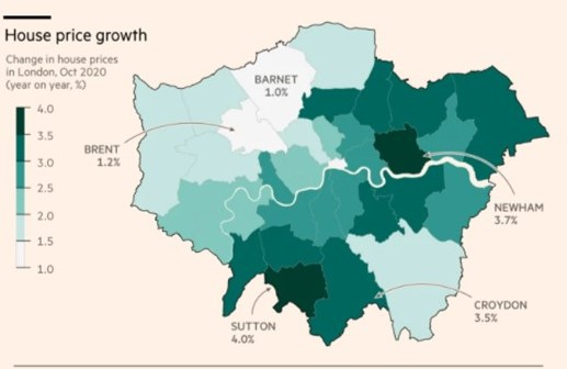 House Prices London depopulation 2020 COVID-19 -Growth FT